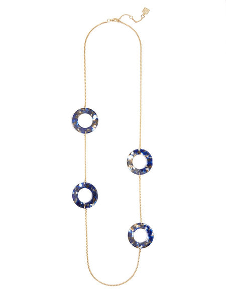 Tortoise Links And Metal Chain Long Necklace navy