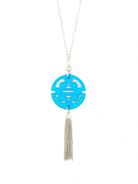 Tassel Long Necklace in Silver light blue