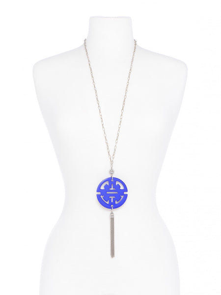 Tassel Long Necklace in Silver cobalt