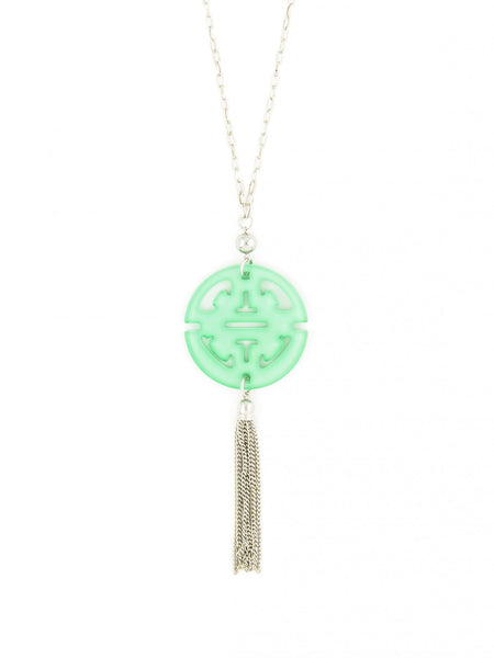 Tassel Long Necklace in Silver mint