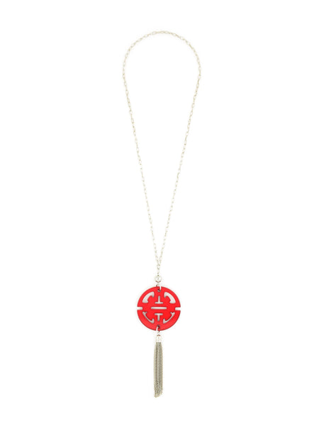 Tassel Long Necklace in Silver red