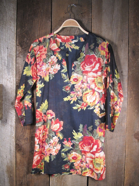 Tunic Black with Red Roses