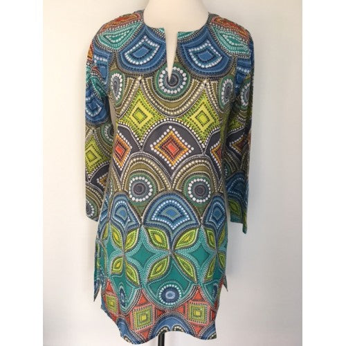 Cotton Tunic Top Blues and Greens