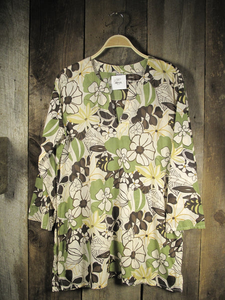 Cotton Tunic Top in Khaki Floral