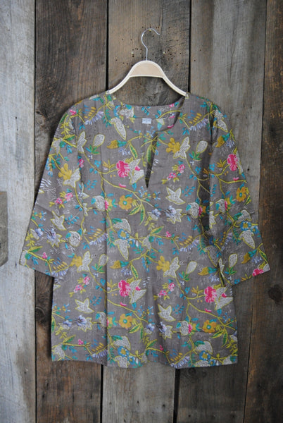 Cotton Tunic Top Bright Floral on Silver