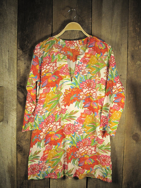 Tunic Top Red Flowers