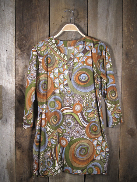 Cotton Tunic Top Earthy Retro