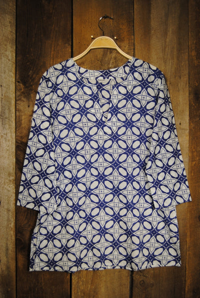 Tunic Blue and White