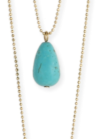 Turquoise and Brown Stone Horn Long Necklace