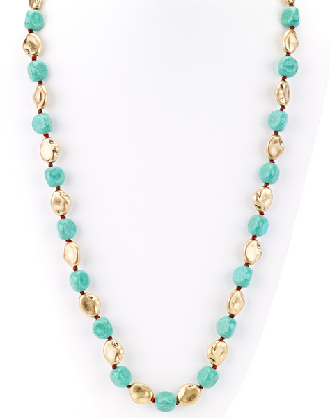 Turquoise and Gold Nugget Beaded Long Necklace