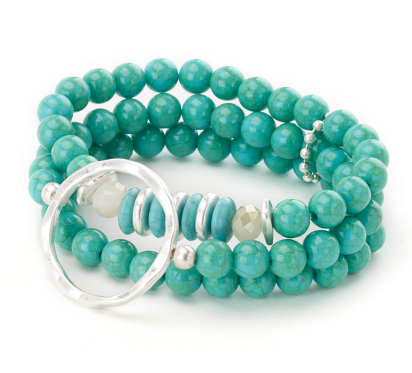 Turquoise Beaded Bracelet with Silver Centerpiece
