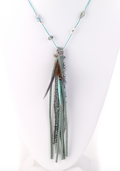 Turquoise Tassel Combo Long Necklace