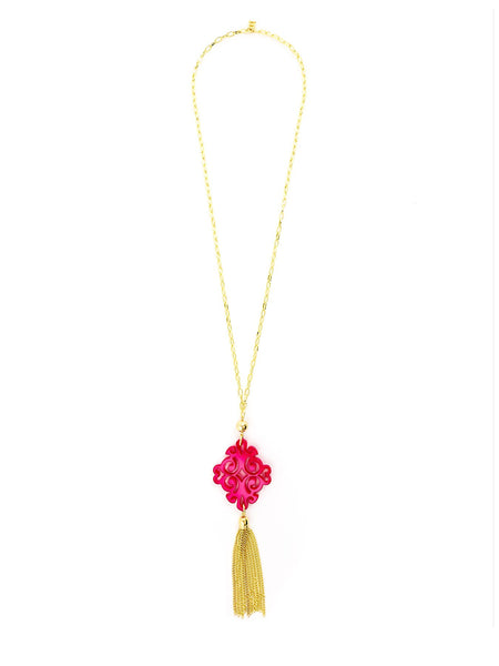 Twirling Blossom Tassel Necklace