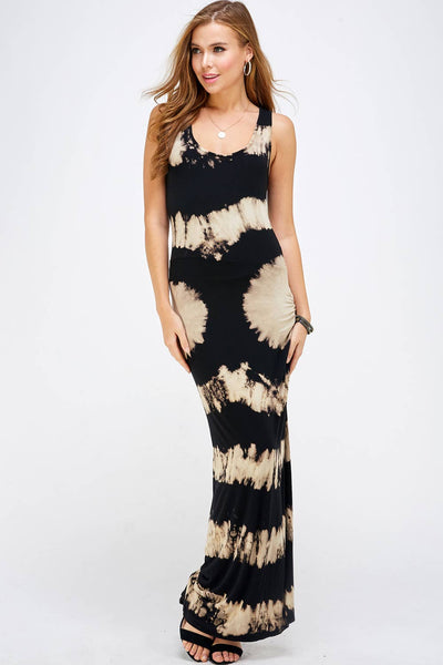 Urban X Black & Mocha Tie-Dye Maxi Dress