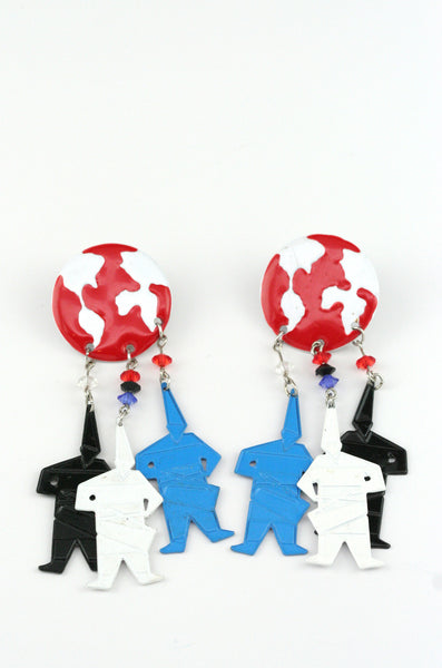 Vintage - Keith Haring Inspired Earrings - Girl Intuitive - Vintage -