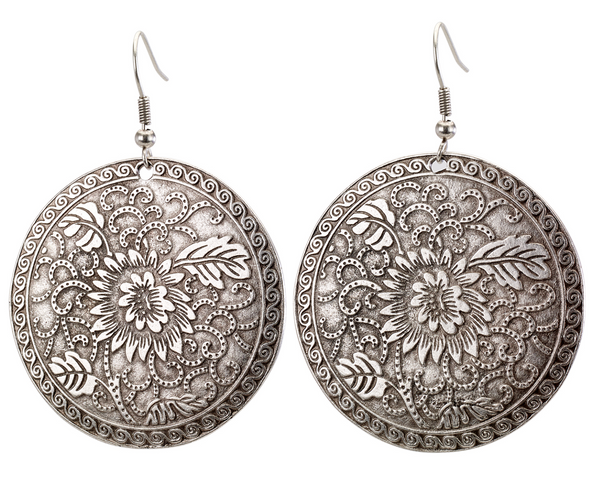 f5aabfab9c293 Vintage Turkish Floral Engraved Disc Earrings
