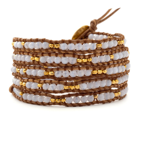 White and Gold Wrap Leather Bracelet