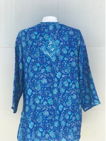 Women's Embroidered Silk Tunic Top in Turquoise Blue back
