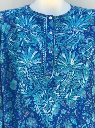 Women's Embroidered Silk Tunic Top in Turquoise Blue detail