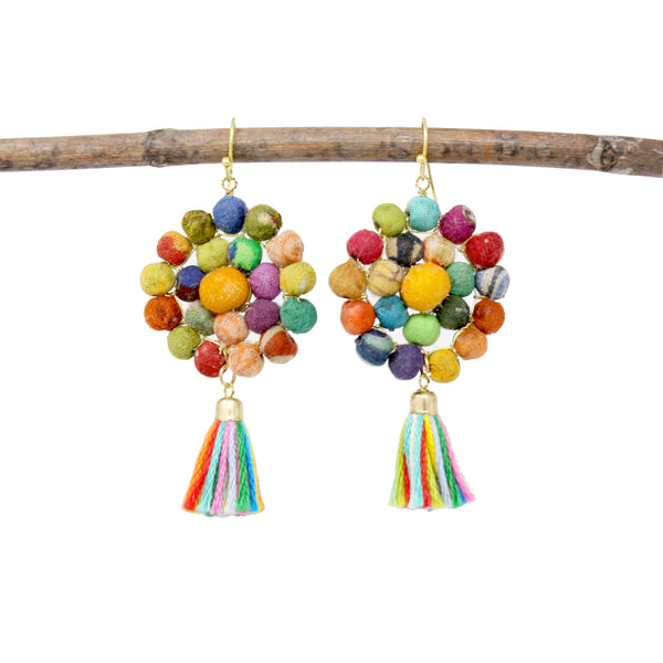 Worldfinds Kantha Tassel Disc Earrings