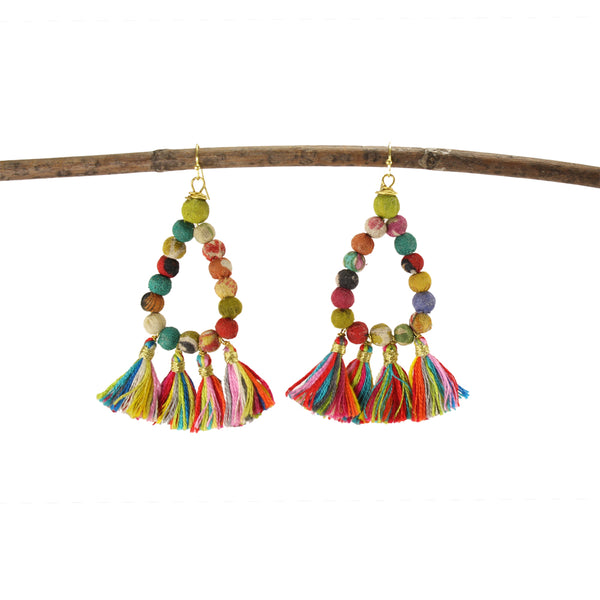 Worldfinds Kantha Teardrop Fringe Earrings
