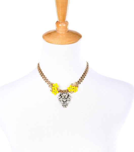 Yellow Flowers Bib Necklace