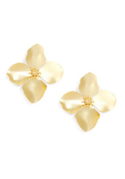 Zenzii Matte Metal Garden Party Statement Earring Studs