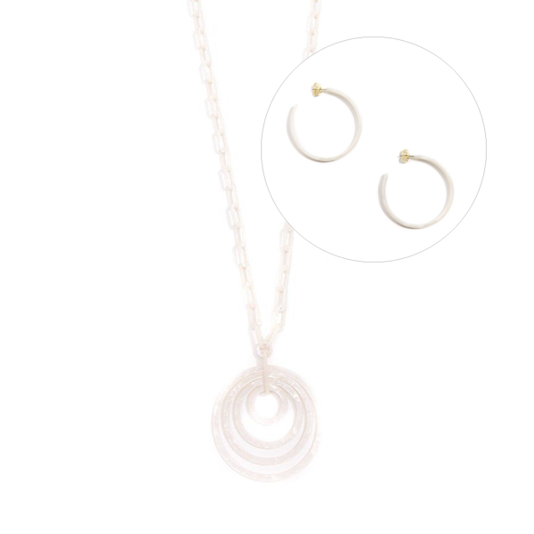 Zenzii Resin Long Neecklace and Hoop Earrings Set in White