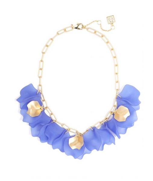 Zenzii Sheer Layered Petals Gold Collar Necklace