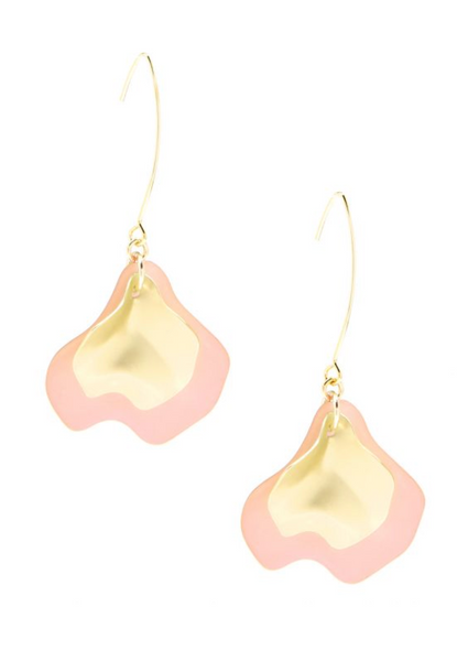 Zenzii Sheer Layered- Petals Gold Pull Through Earrings