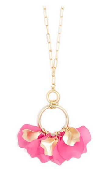 Zenzii Sheer Petals Gold Pendant Necklace