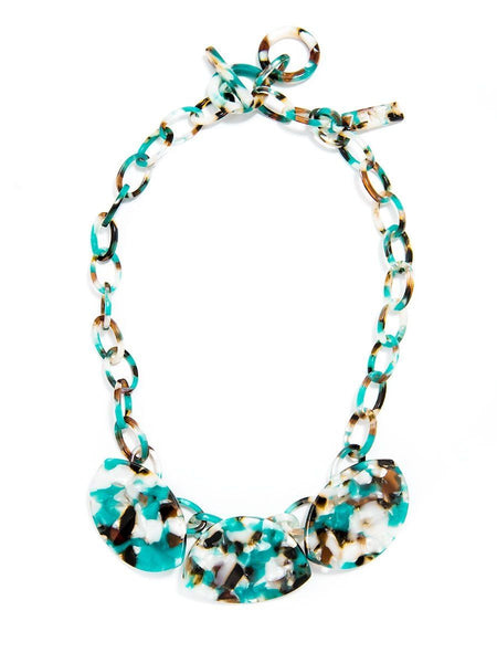 Zenzii Tortoise Leaf Shape Collar Necklace green