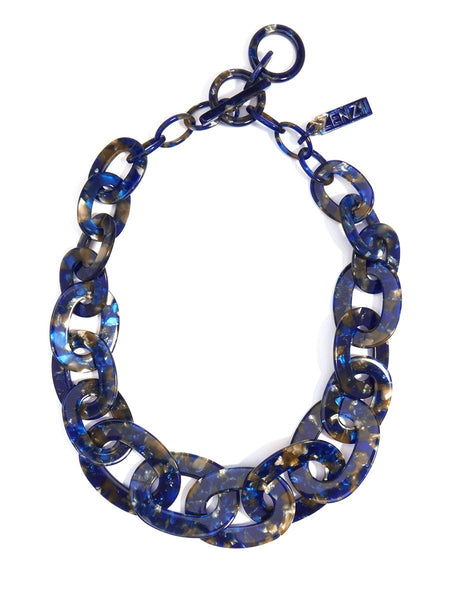 Zenzii Tortoise Links Collar Necklace blue