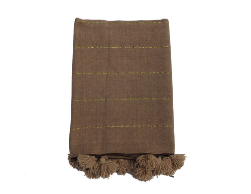 'Mocha'  Moroccan Pom Throw - Maven Collection