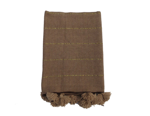 'Brown Bear' Cotton Pom Pom Blanket