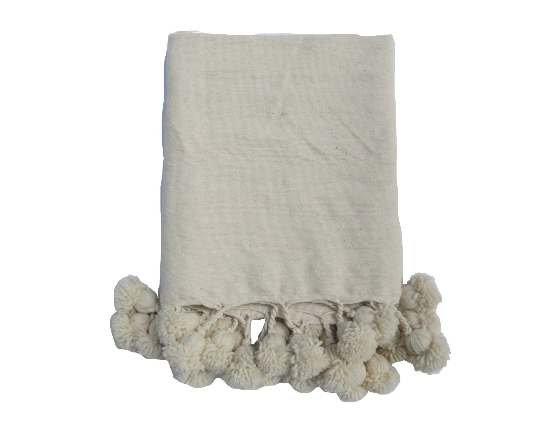 'Café au Lait' Moroccan Pom Blanket - Maven Collection