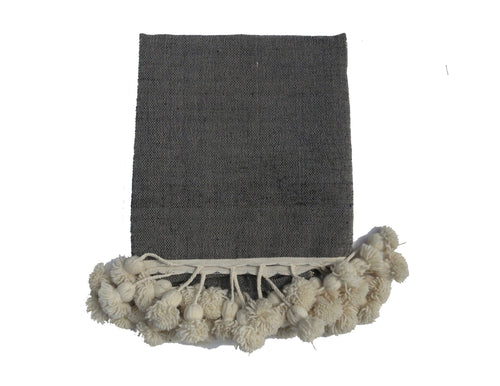 'Black Market' Moroccan Pom Blanket - Maven Collection