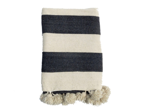 'WHITE STRIPES'  BERBER WOOL BLANKET - Maven Collection