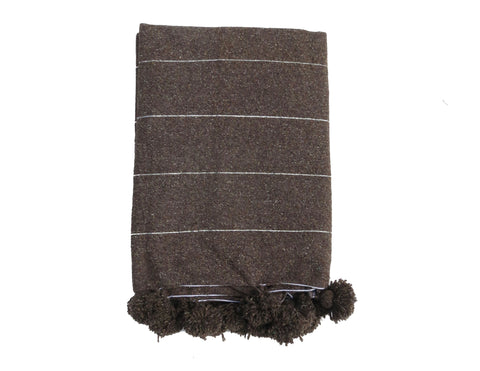 Light Grey with Tan Fringe Peruvian Throw