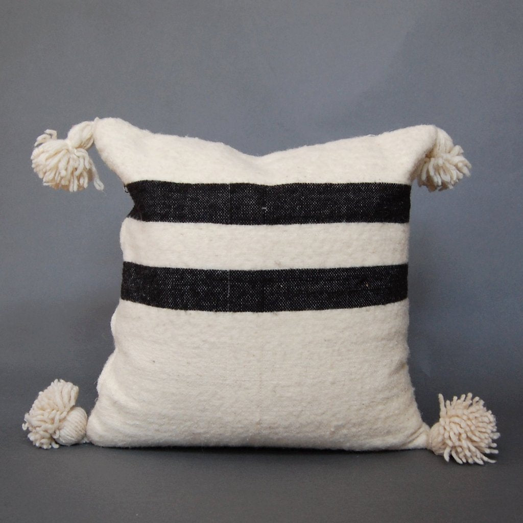 'Casablanca'  Moroccan Pom Pom Pillow - Maven Collection