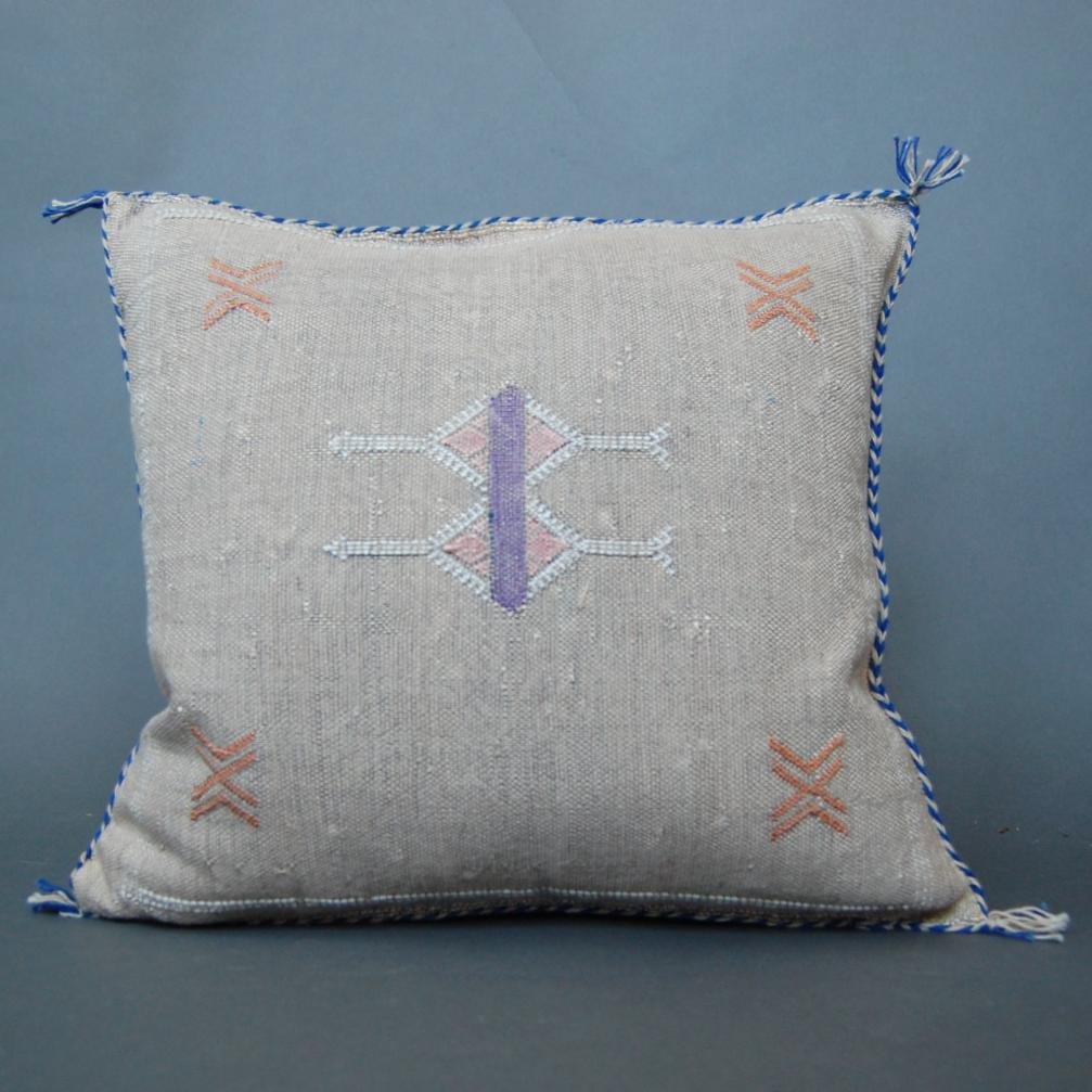'Purple Fever'  Moroccan Sabra Silk Pillow - Maven Collection