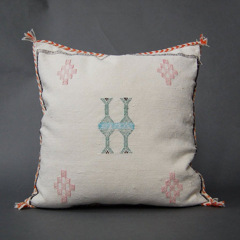 'Auburn Grey Sky'  Moroccan Sabra Silk Pillow