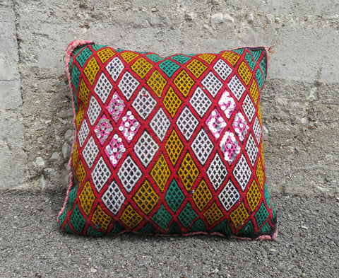'Red Robin'  Moroccan Berber Wool Pillow