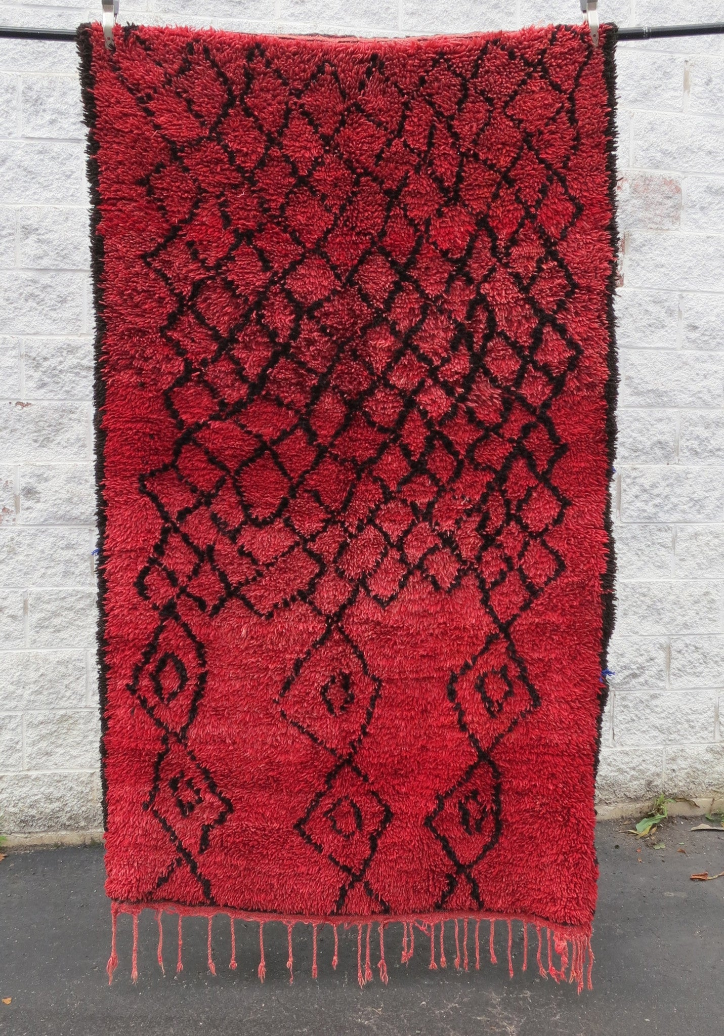 'RUBY RED DIAMONDS'  VINTAGE  AZILAL RUG - Maven Collection