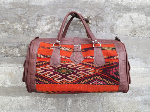 'ORANGE THEORY'  MOROCCAN KILIM BAG