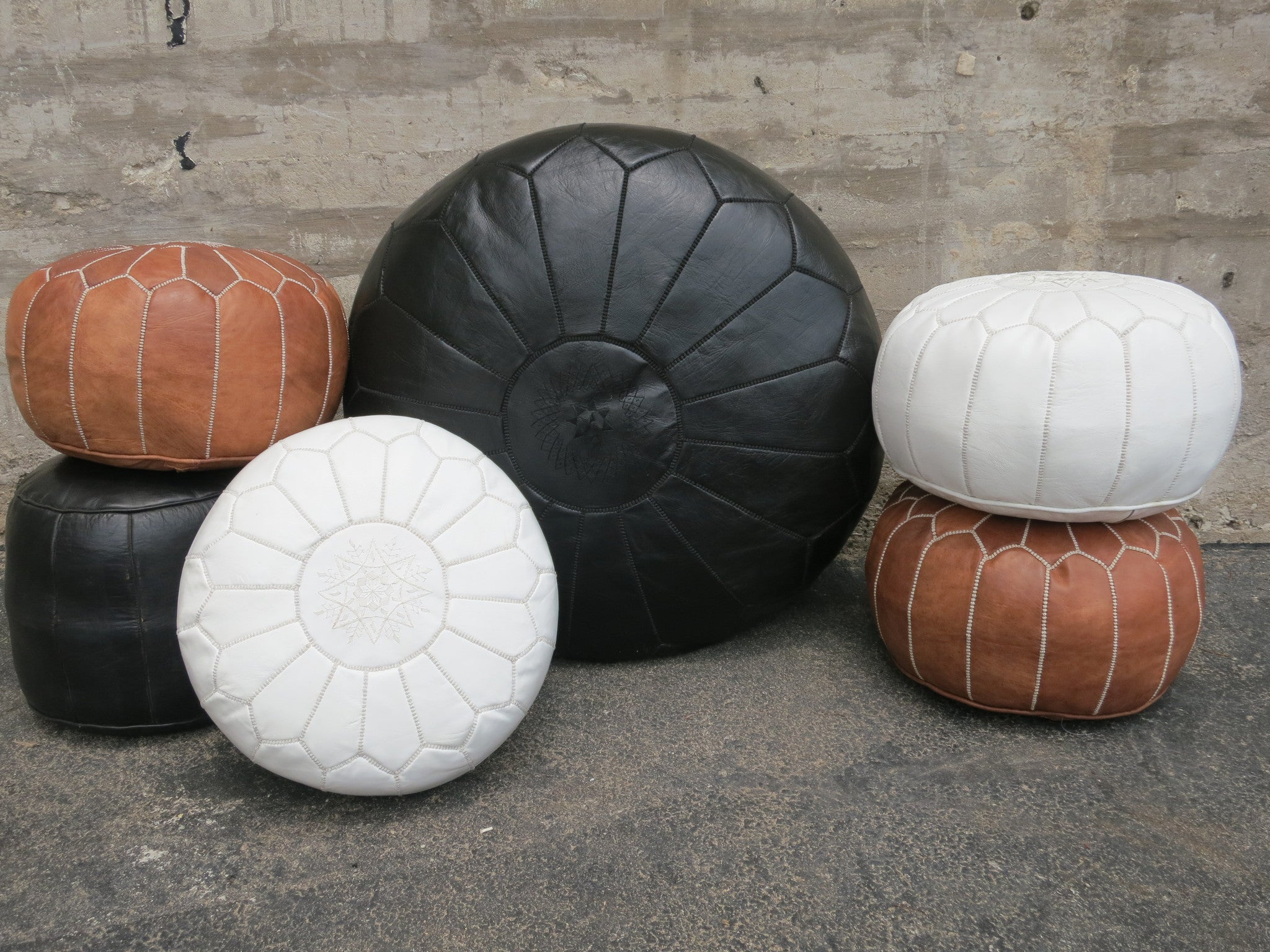 'SNOW WHITE ' MOROCCAN LEATHER FLOOR POUF - Maven Collection