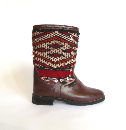 'RUBY RED DIAMONDS'  KILIM BOOTS