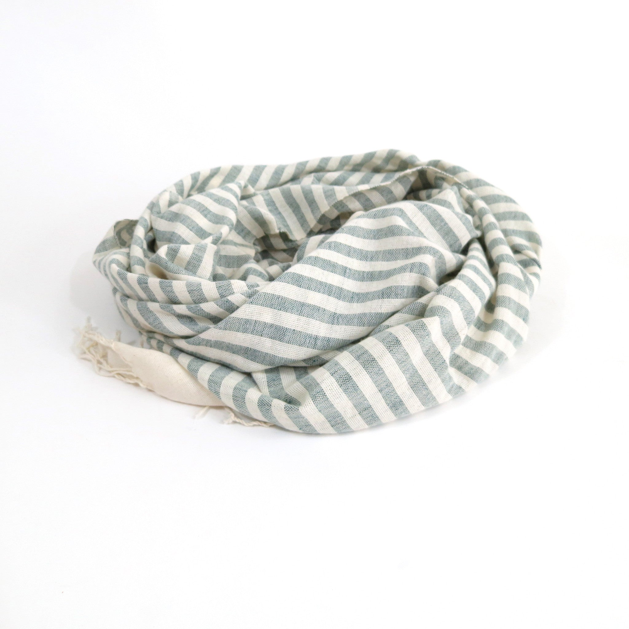 'OCEAN DEEP'  STRIPED WOVEN MOROCCAN SCARF