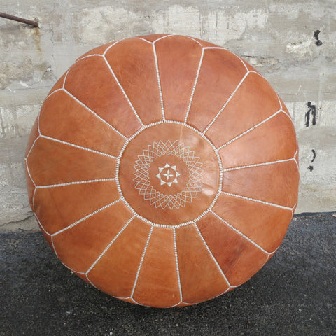 'CHOCOLAT' MOROCCAN LEATHER FLOOR POUF