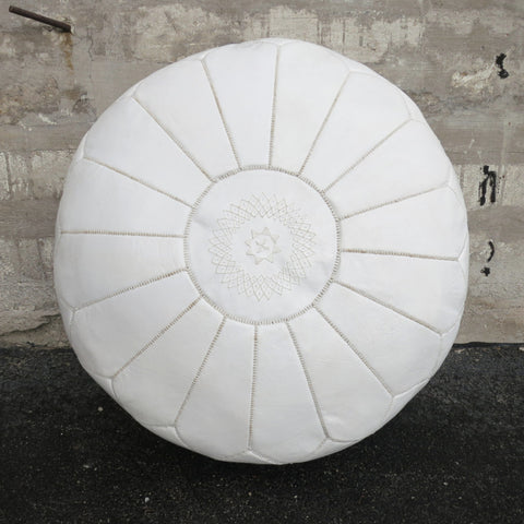 'SNOW WHITE ' MOROCCAN LEATHER FLOOR POUF
